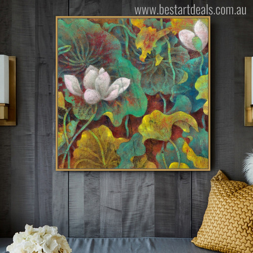 Lotus Botanical Watercolor Painting Canvas Print for Living Room Wall Getup