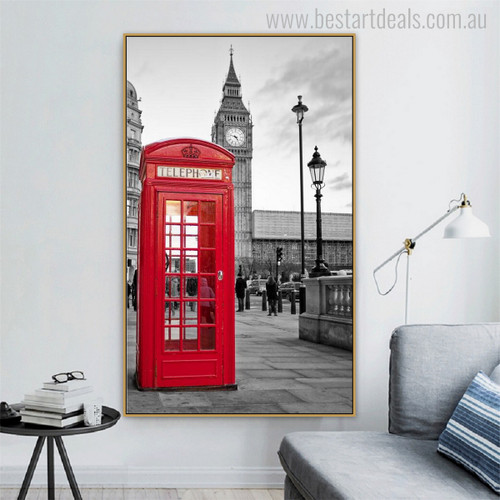Clock Tower Cityscape Modern Painting Canvas Print for Wall Ornamentation
