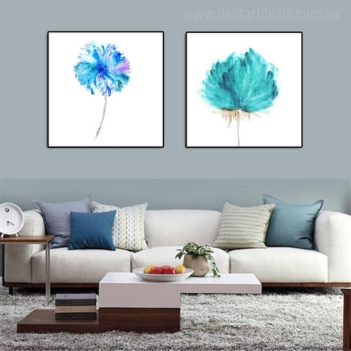 Blossoms Abstract Modern Watercolor Nordic Botanical Portraiture Canvas Print for Living Room Wall Getup