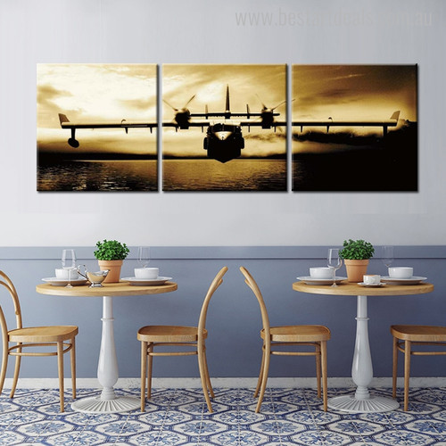 Bomber Plane Travel Modern Abstract Painting Canvas Print for Dining Room Wall Moulding