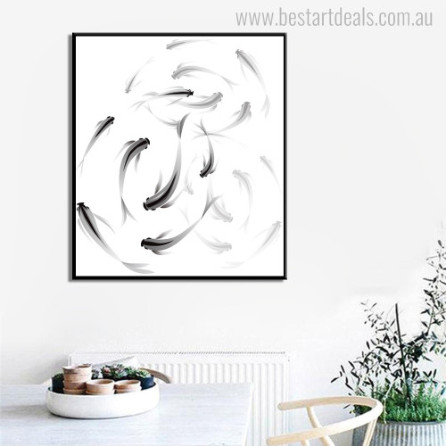 Fish Minimalist Animal Abstract Modern Canvas Artwork Print for Room Wall Flourish