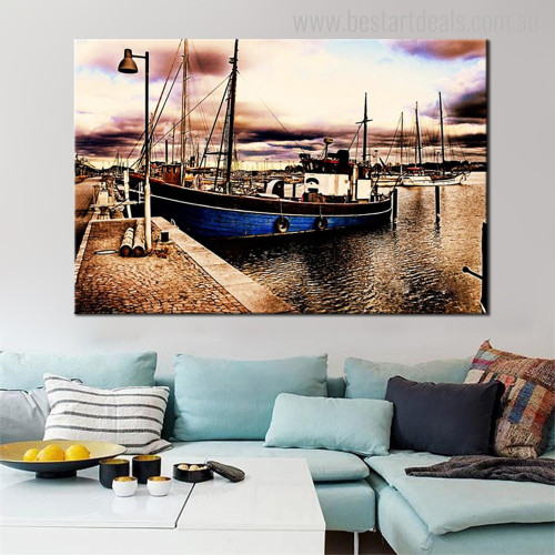 Boat in Bay Nature Landscape Modern Wall Art Print for Living Room Wall Ornamentation