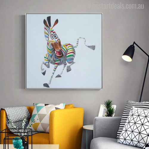 Zebra Abstract Modern Animal Cartoon Painting Canvas Print for Living Room Wall Equipment