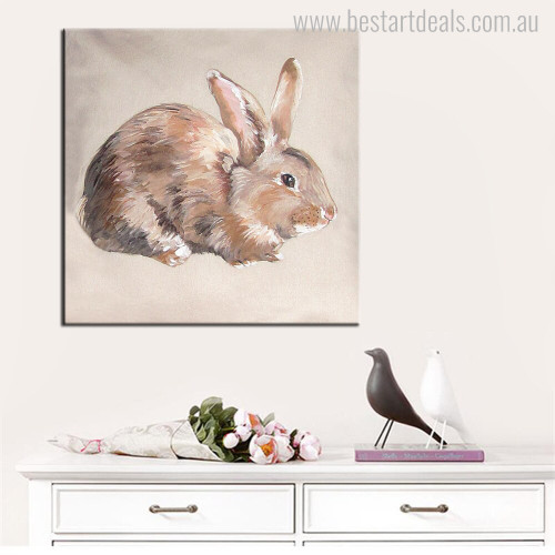 Rabbit Abstract Modern Animal Wall Art Print for Room Wall Drape