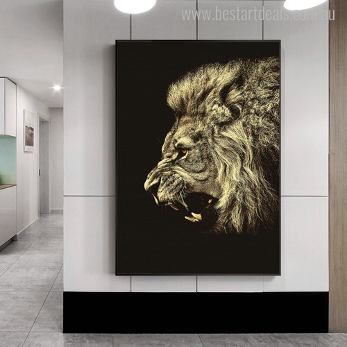 Angry Lion Modern Animal Painting Canvas Print for Wall Garnish