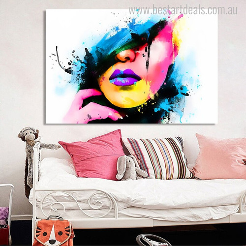 Women Half Face Modern Figure Abstract Watercolor Painting Canvas Print for Living Room Wall Getup
