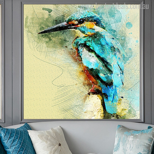 Cute Kingfisher Abstract Watercolor Bird Painting Canvas Print for Home Wall Decor