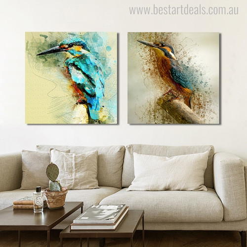 Two Kingfishers Abstract Watercolor Birds Painting Canvas Print for Room Wall Equipment