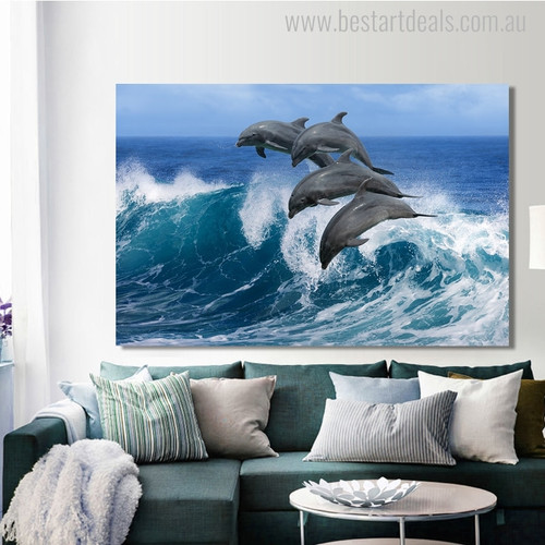 Leaping Dolphins Modern Seascape Animal Painting Photo Canvas Print for Home Wall Outfit