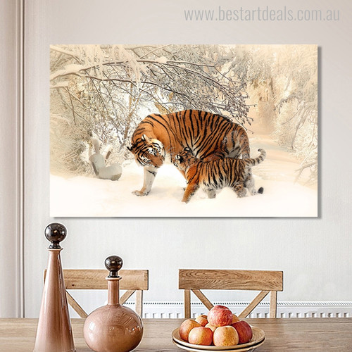 Tigers Contemporary Animal Landscape Picture Canvas Print for Dining Room Wall Decor