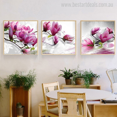 Magnolia Flowers Floral Modern Painting Canvas Print for Dining Room Wall Getup