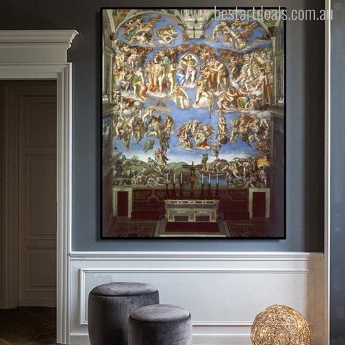 Last Judgment Mix Artists Portrait Canvas Print for Living Room Wall Drape