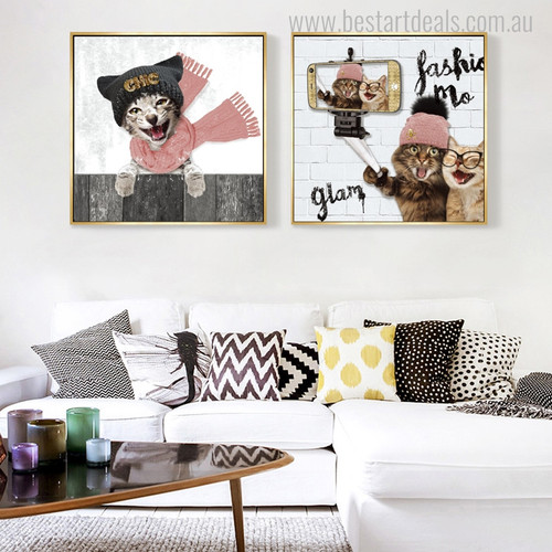 Cat Dog Animal Modern Painting Canvas Print for Home Wall Decor
