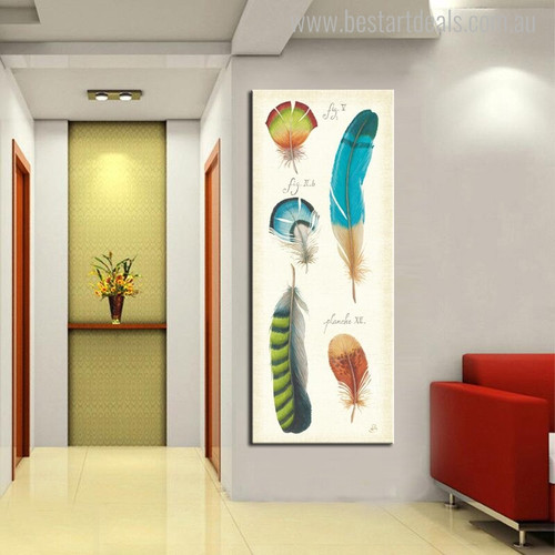 Specimen Feathers Abstract Modern Portraiture Canvas Print for Home Wall Decor