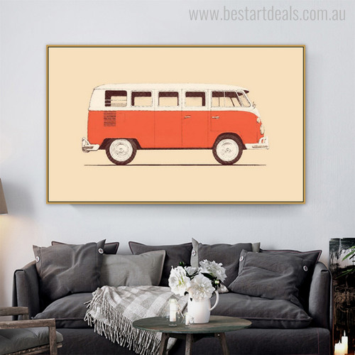 Volkswagen Kombi Vintage Nordic Minimalist Painting Canvas Print for Living Room Wall Drape