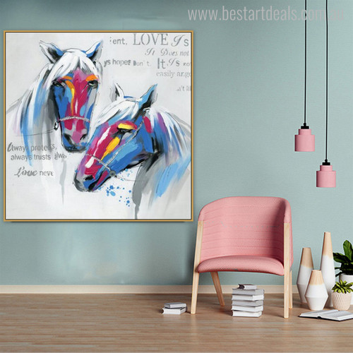 Two Horse Love Abstract Animal Modern Painting Canvas Print for Study Room Wall Decor
