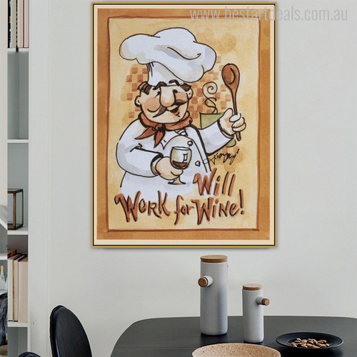 Work Wine Food & Beverage Modern Quotes Wall Art Print for Dining Room Wall Outfit
