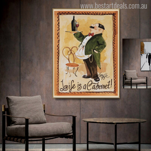 Cabernet Food & Beverage Modern Quotes Painting Canvas Print for Room Wall Ornamentation