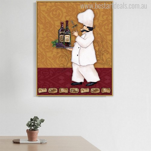 Champagne Bottle Cap Modern Food & Beverage Canvas Artwork Print for Dining Room Wall Equipment
