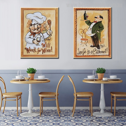 Life is Wine Modern Food & Beverage Painting Canvas Print for Dining Room Wall Disposition