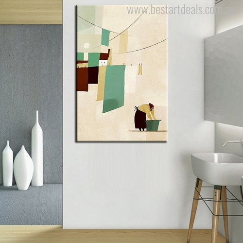 Washing Clothes Abstract Nordic Modern Hand Paint Wall Art Picture Canvas Print for Room Wall Flourish