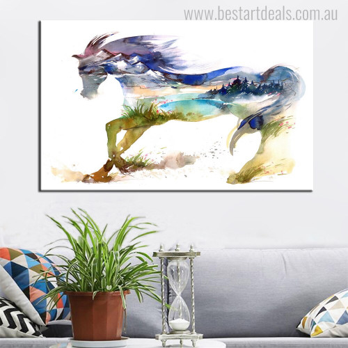 Abstract Horse Nordic Animal Abstract Modern Painting Canvas Print for Living Room Wall Decor