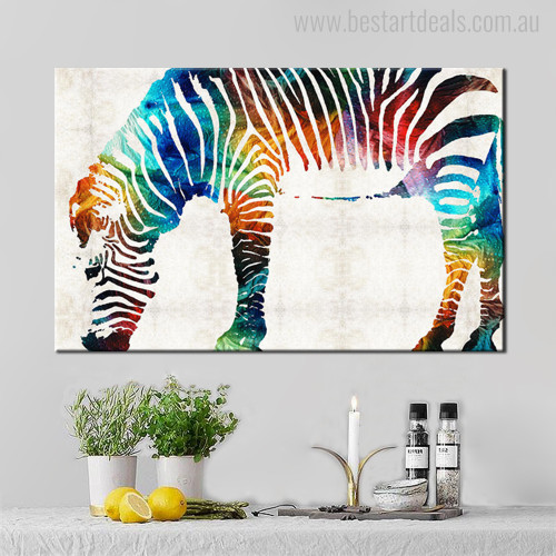 Hued Zebra Animal Abstract Modern Painting Canvas Print for Living Room Wall Decor