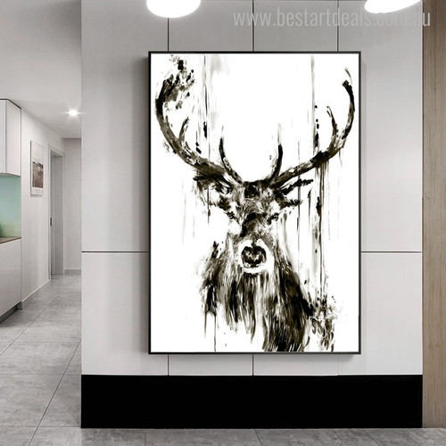 Black Deer Animal Abstract Modern Painting Canvas Print for Home Wall Decor