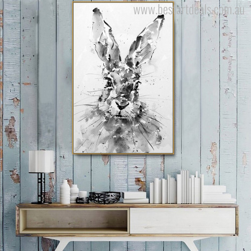 Rabbit Face Animal Abstract Modern Painting Canvas Print for Home Wall Decor