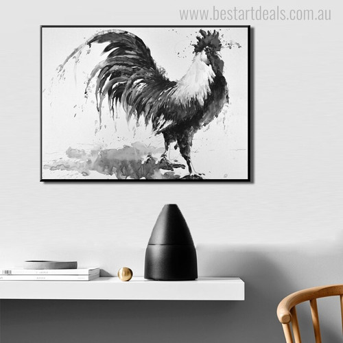 Cock Bird Animal Abstract Contemporary Painting Canvas Print for Home Wall Decor