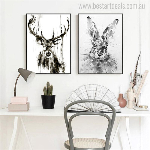 Deer Rabbit Animal Abstract Contemporary Painting Canvas Print for Living Room Wall Flourish