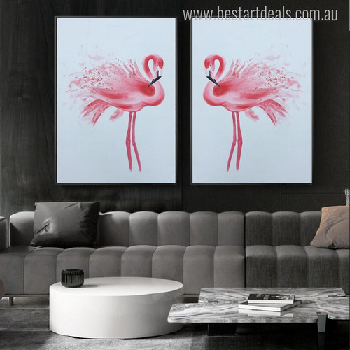 Flamingo Bird Animal Abstract Modern Wall Art Print for Living Room Wall Getup