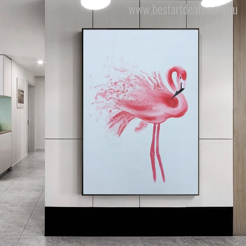 Flamingo Bird Animal Abstract Modern Painting Canvas Print for Living Room Wall Flourish