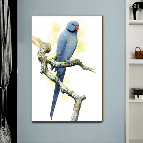 Blue Ring-neck Bird Animal Modern Painting Canvas Print for Wall Outfit