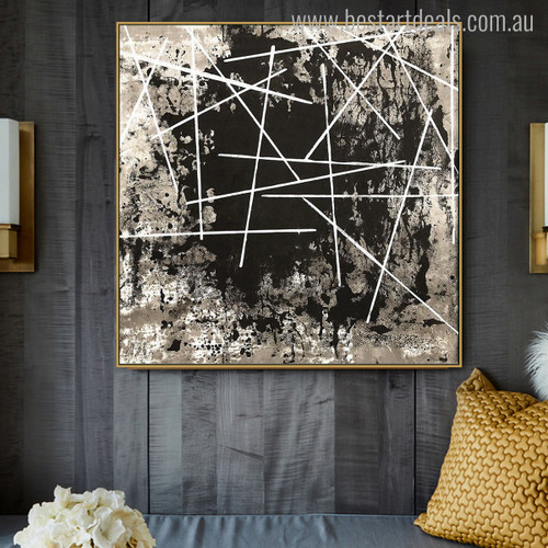 Cross Lines Abstract Nordic Painting Canvas Print for Home Wall Tracery
