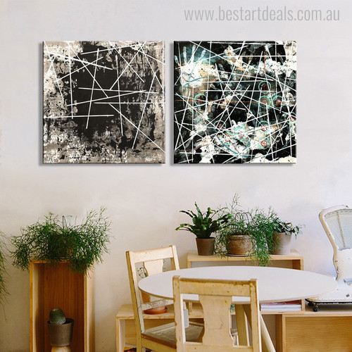 Strokes Abstract Nordic Painting Canvas Print for Dining Room Wall Tracery