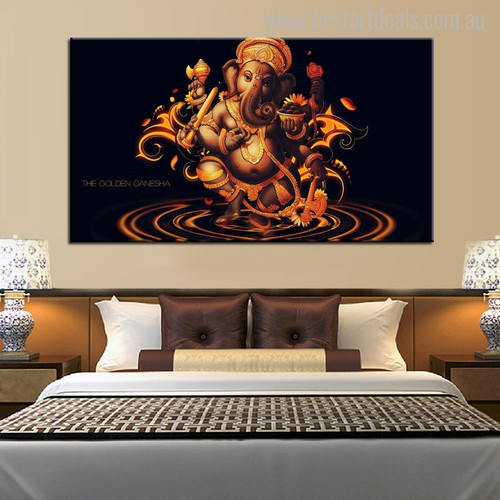 Ganesha Religion & Spirituality Painting Picture Canvas Print for Bedroom Wall Outfit