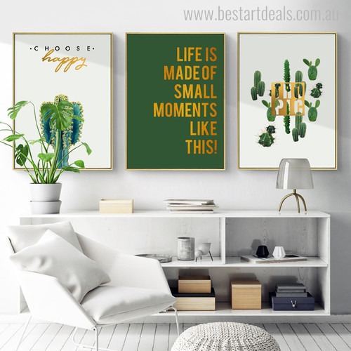 Small Moments Botanical Nordic Quotes Painting Canvas Print for Home Wall Getup