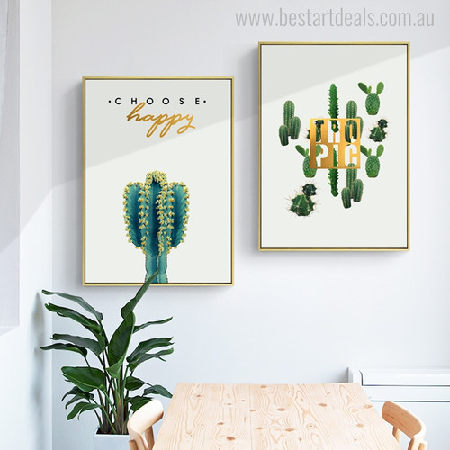 Devil's Tongue Cactus Botanical Nordic Quotes Painting Canvas Print for Home Wall Getup