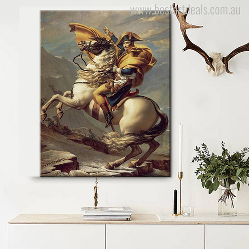 Napoleon Crossing Vintage Reproduction Painting Canvas Print for Living Room Wall Art Decor