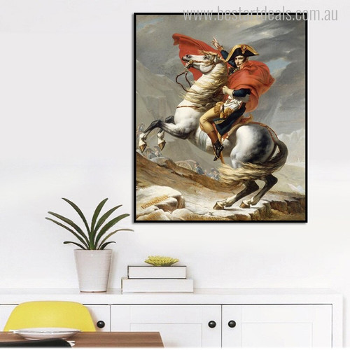 Napoleon Crossing the Alps Vintage Reproduction Painting Canvas Print for Dining Room Wall Drape