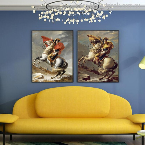 Napoleon Crossing Alps Vintage Reproduction Painting Canvas Print for Room Wall Decor