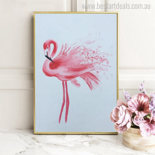 Pink Flamingo Animal Bird Modern Effigy Canvas Print for Home Wall Getup