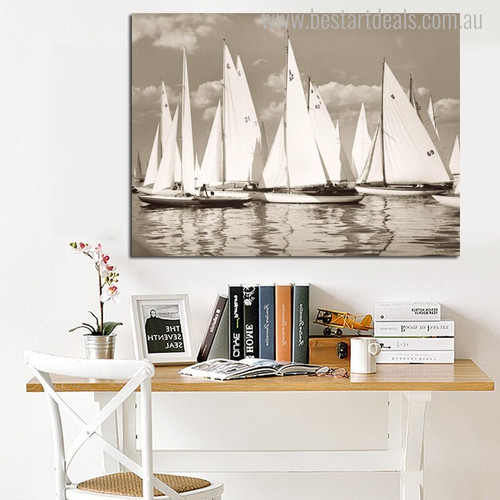 Sailing Boats Landscape Seascapes Vintage Painting Picture Canvas Print for Study Room Wall Tracery