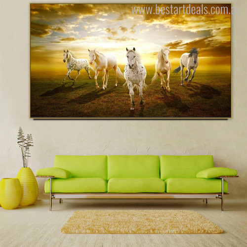 Herd of Horses Animal Modern Painting Canvas Print for Room Wall Flourish