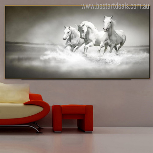 Monochrome Horses Animal Modern Painting Canvas Print for Room Wall Finery