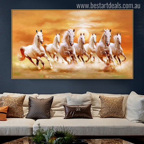 Group of Horses Animal Modern Painting Canvas Print for Living Room Wall Getup