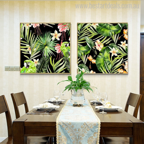 Green Macaw Botanical Bird Modern Painting Canvas Print for Dining Room Wall Outfit