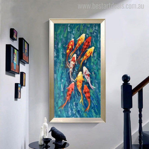 Horde of Goldfish Animal Abstract Watercolor Painting Picture Canvas Print for Wall Outfit