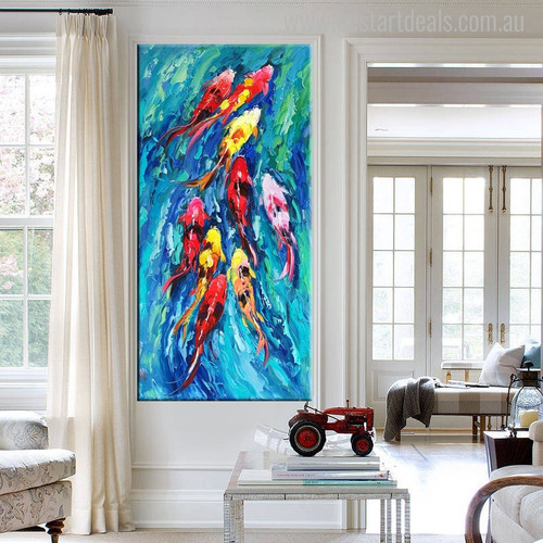 Huddle of Goldfish Animal Abstract Watercolor Painting Picture Canvas Print for Home Wall Decor